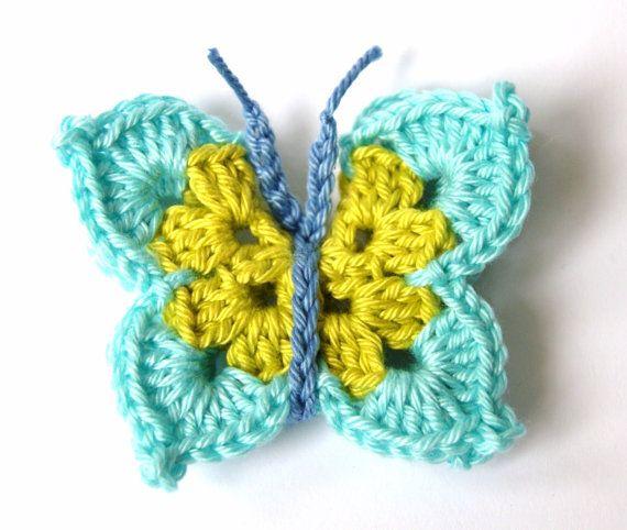 Crochet Butterfly Applique   crochet   Pinterest   Schmetterlinge ...