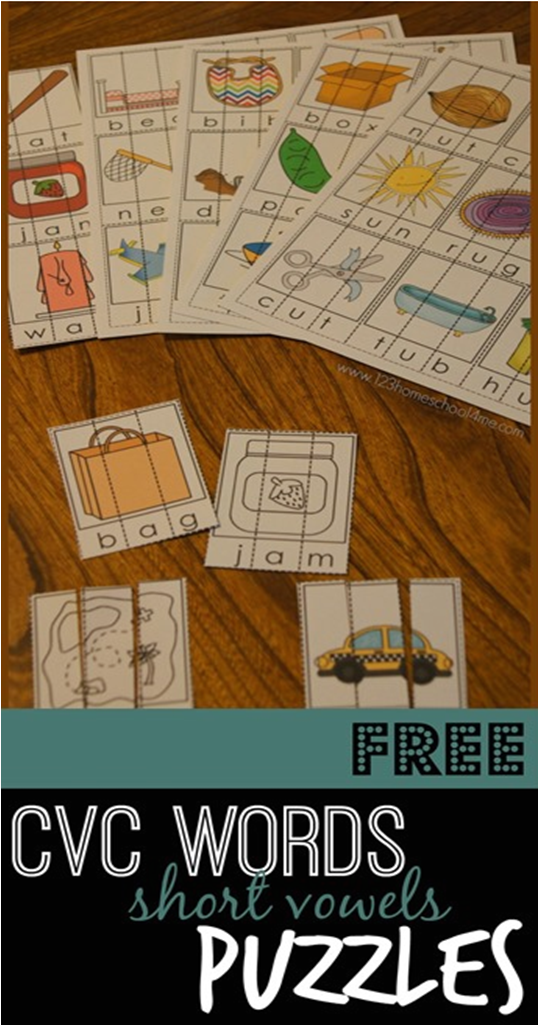 FREE CVC Word Puzzles - short vowels in color or black and white ...