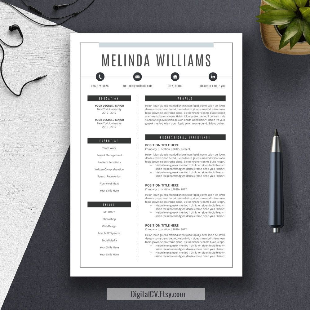 """DigitalCV.Etsy.com >  Introducing """"MELINDA"""", a #creative and clean #resume #template with matching cover Letter and references template. Making you stand out from the crowd. >> US Letter and A4 Templates included. / Compatible with Microsoft Office Word (Mac or PC). / 100% editable text and color."""