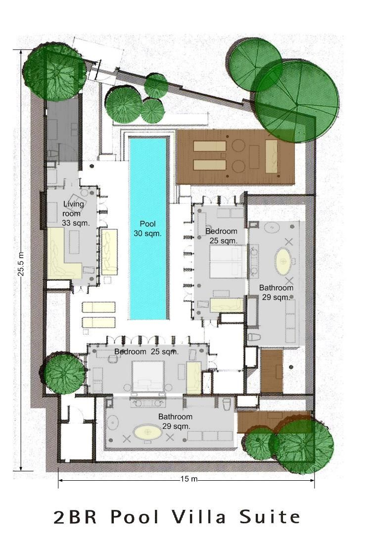Bedroom Pool Villa Suite - 447 sqm. Find this Pin and more on Architect  Plan Idea ...