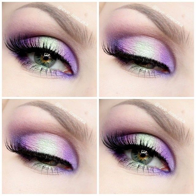 eve_lineczka - ️Using: @sleekmakeup palette ultra matts V1 purple shadow, palette BC 98 mint shadow, palette technic electric darker purple shadow, lashes from @ardell_lashes #2 Brows: from @anastasiabeverlyhills perfect brow pencil in DARK BROWN, Brow powder duo in DARK BROWN, clear brow gel and concealer 1.5