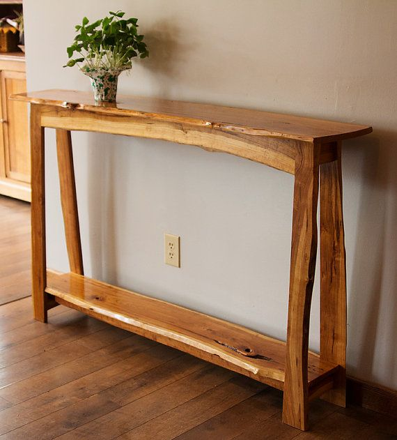 Wild Cherry Console Hall Sofa Table Live Edge Walnut Oak