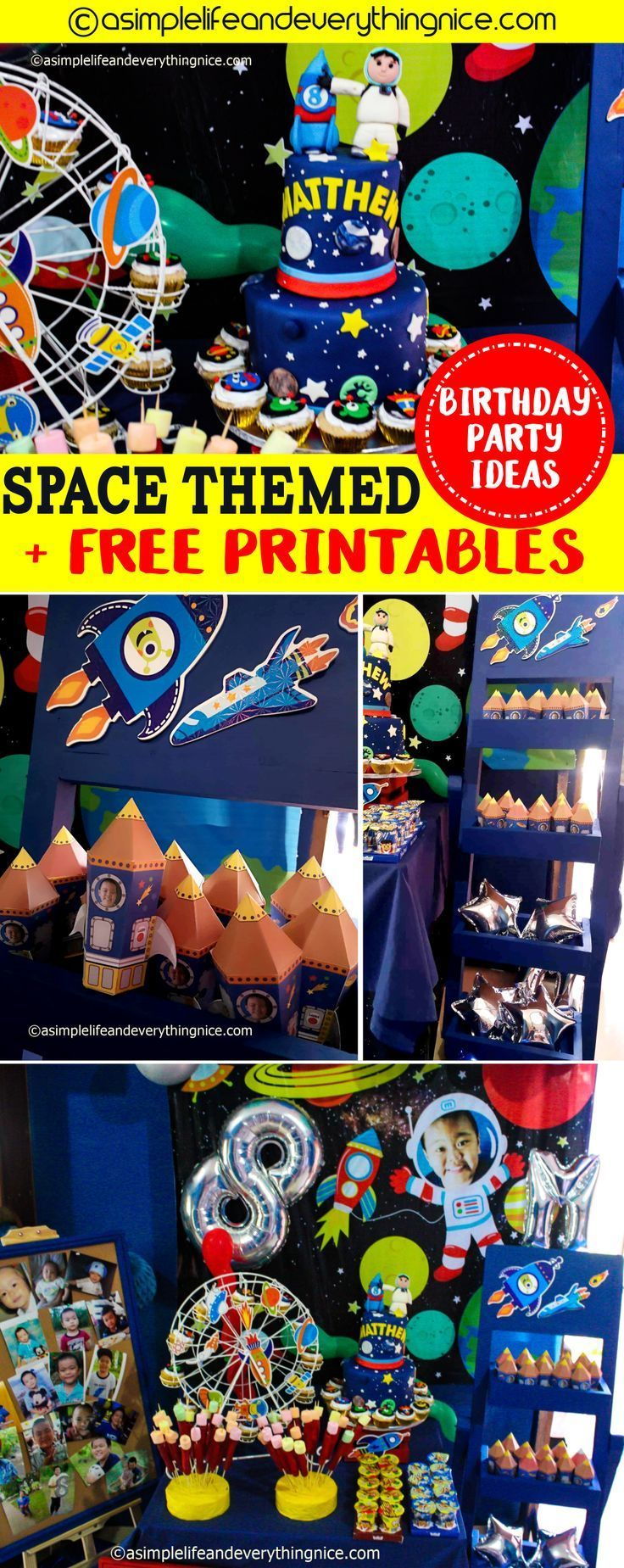 A Space Themed Birthday Party : Matthews Outer Space 8th Birthday Party with Free Printables #outerspaceparty A Space Themed Birthday Party : Matthews Outer Space 8th Birthday Party with Free Printables #outerspaceparty