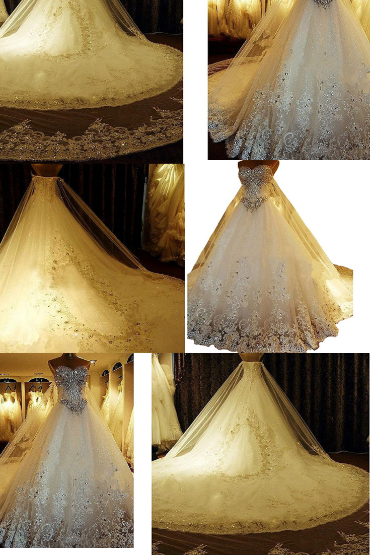 74f281cd309  Yuxin Luxury Sweetheart Crystal Beaded Wedding Dress  2018  Princess Long  Train Lace Ball Gown  Wedding Material  Tulle