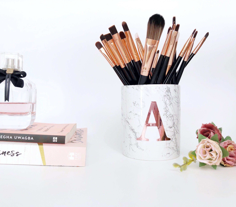 Monogram brush holder, personalised makeup brush holder