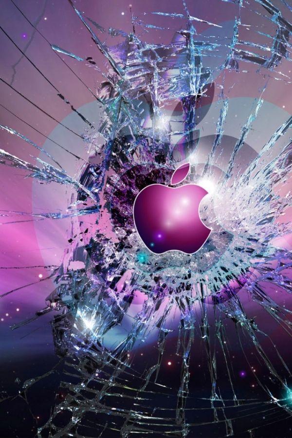 Smashed Glass Apple Fond d'écran téléphone, Fond écran