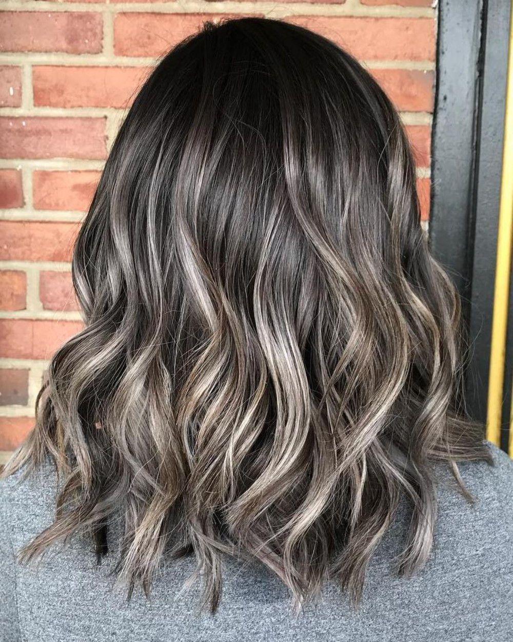 Ash Brown And Subtle Gray Highlights For Brunettes Gray Balayage Short Hair Balayage Balayage Lob
