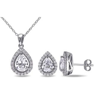 Shop for Miadora Sterling Silver Created White Sapphire Set of Necklace and Earrings. Get free delivery at Overstock.com - Your Online Jewelry Destination! Get 5% in rewards with Club O!