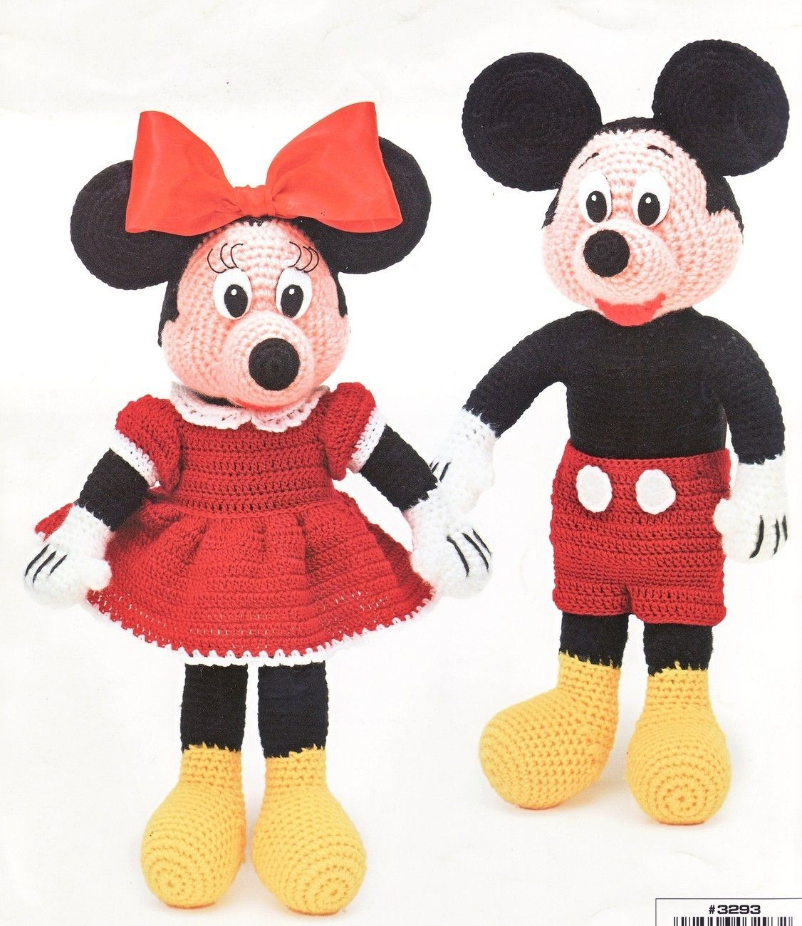 Mickey & Minnie Dolls Crochet Patterns Book Disney Mouse Toys Soft ...