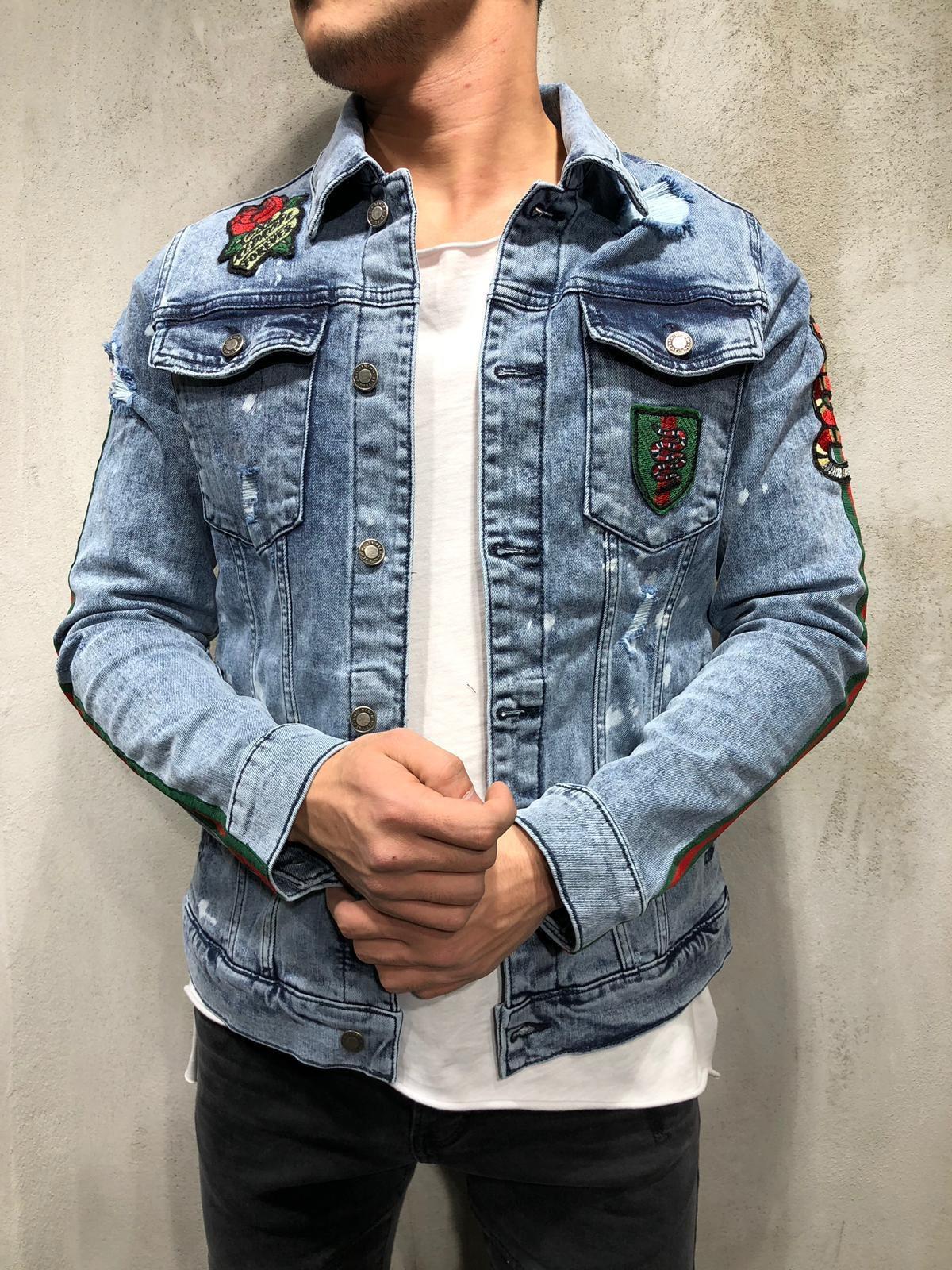 Denim Jacket Snake Patch Embroidery Light Mens Street Style Denim Jacket Mens Outfits [ 1600 x 1200 Pixel ]