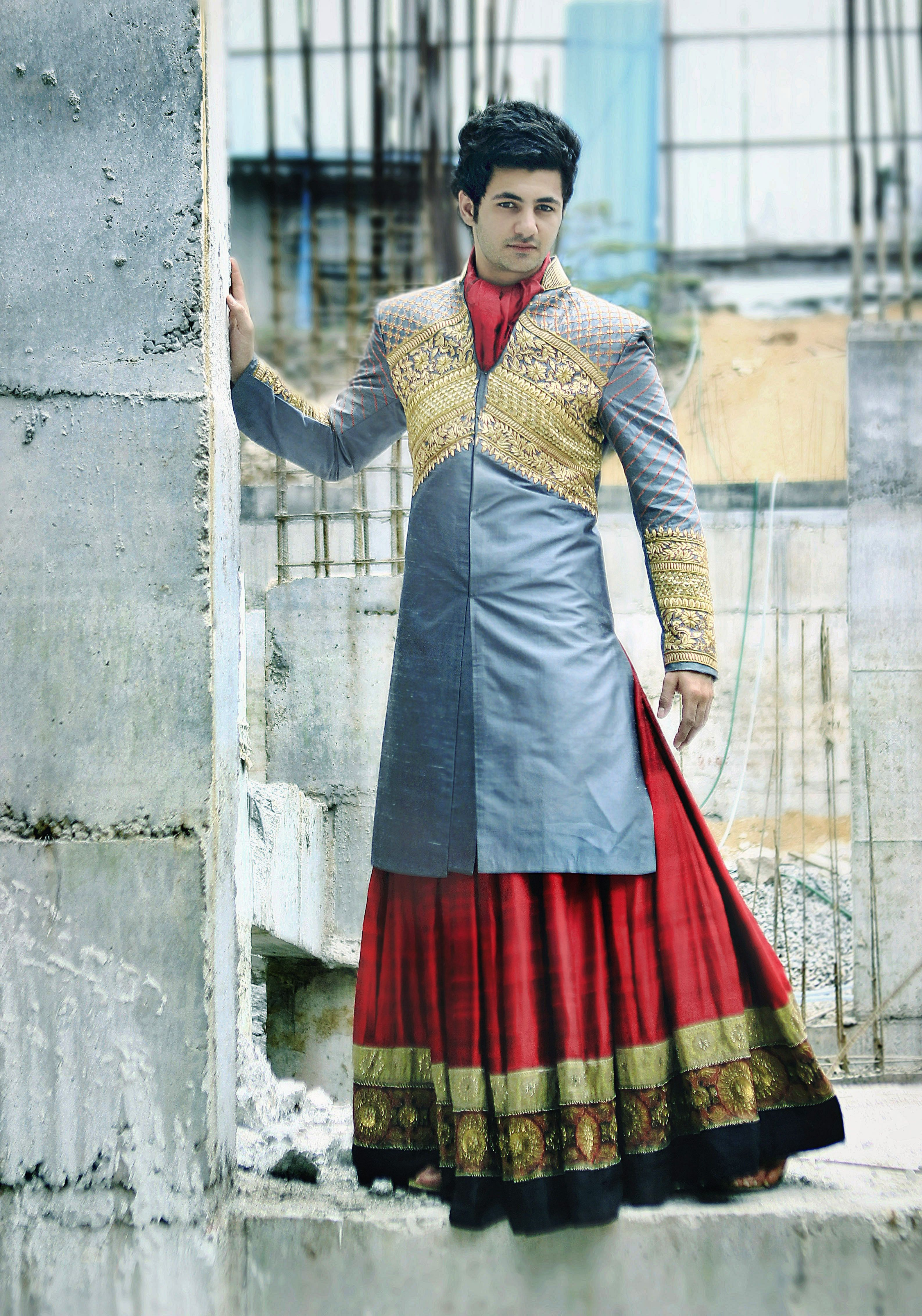 Grey n red sherwani sgar tenali knight in shining sherwani