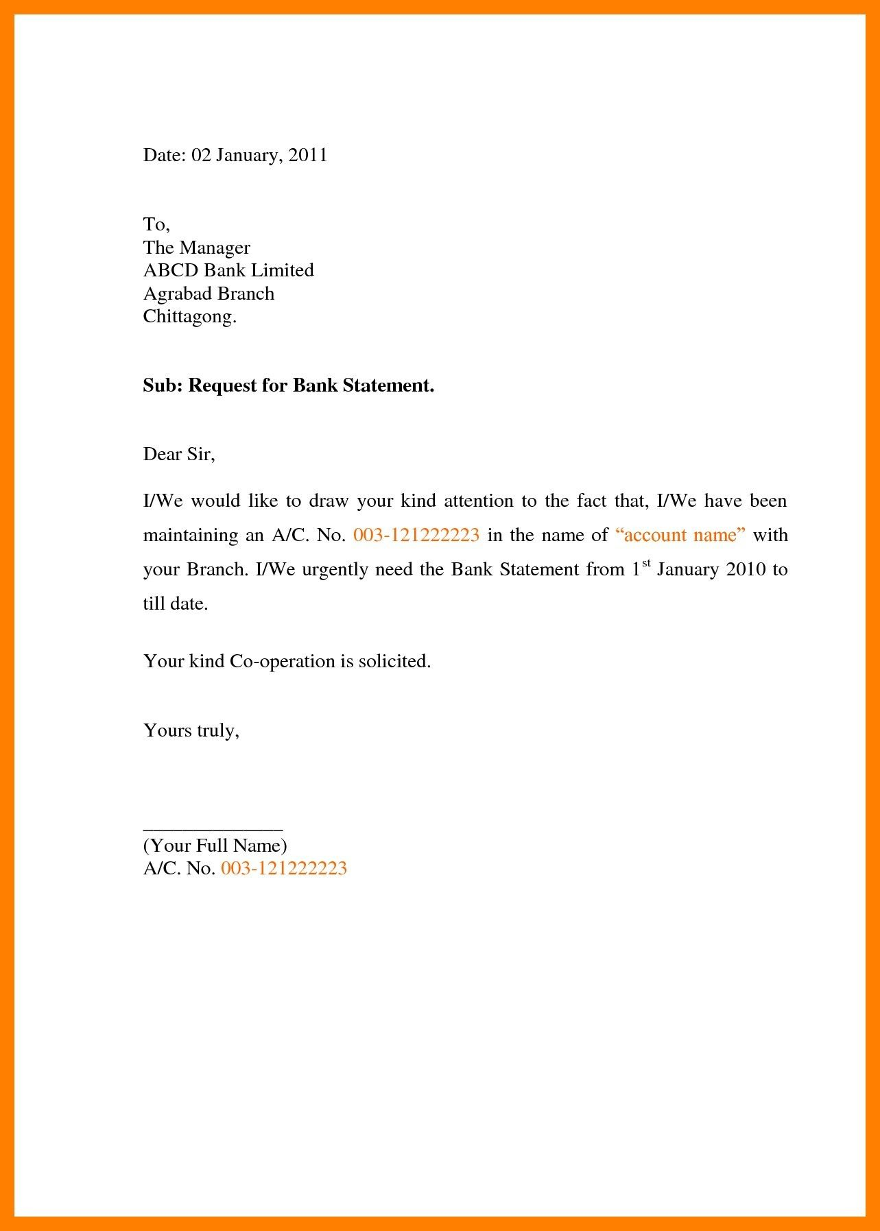 Request letter for bank statement format sample fresh sample bank.