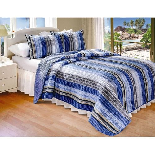 Adult Twin Blue, Sand and Lime Striped Quilt Reversible Blue Bedding Set   #Bedding