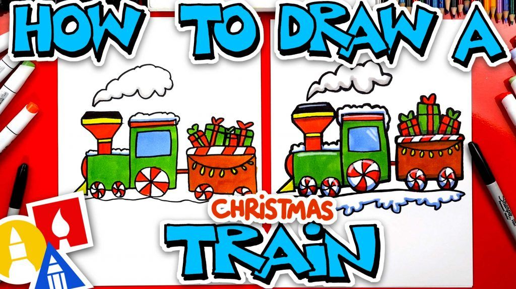 How To Draw A Christmas Train - Art For Kids Hub - | Art ...