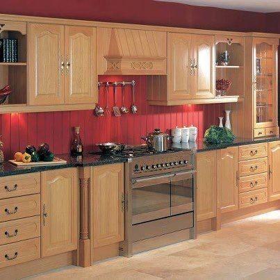Red Beadboard Backsplash Wood Cabinets W Red Backsplash Red