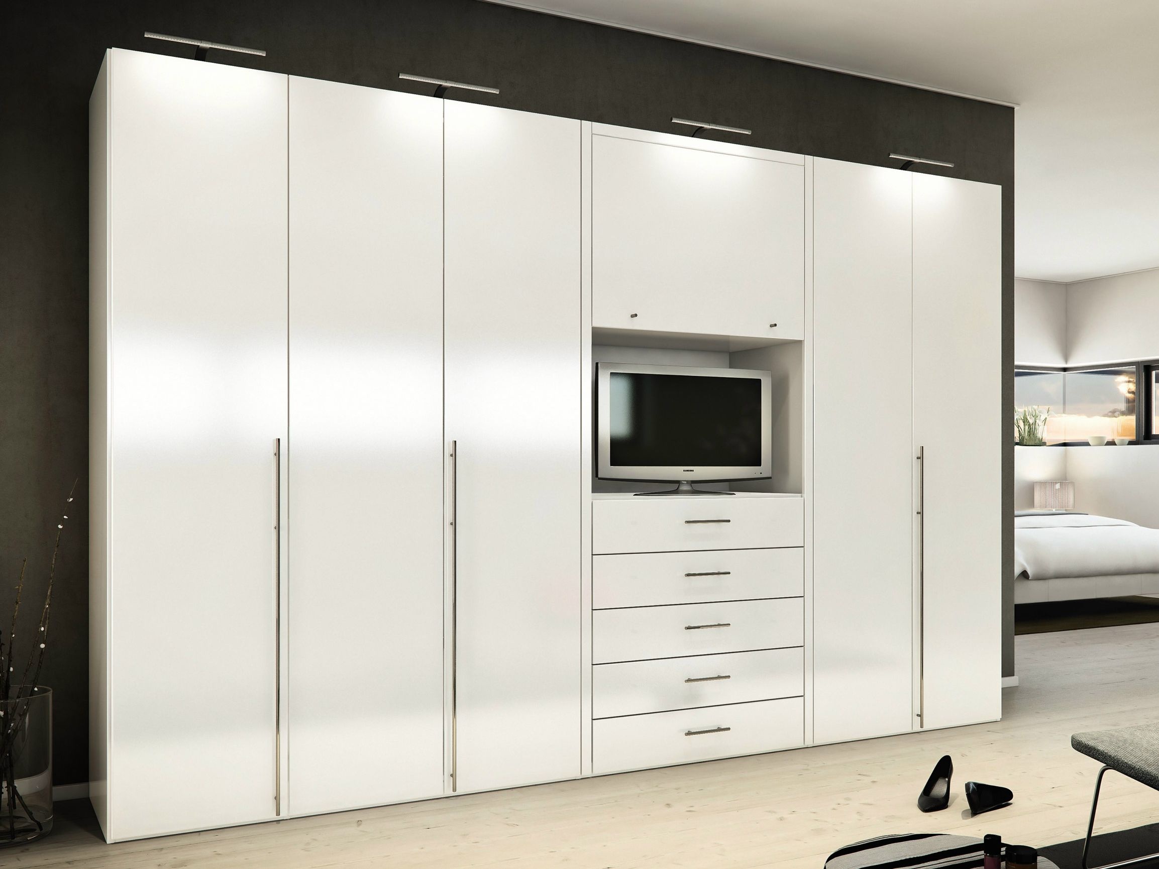 Bedroom ideas furniture mesmerizing white high gloss built in wardrobe with tv closet - Bedroom wall closet designs ...