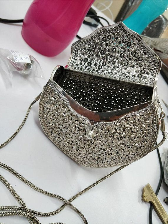 925 Sterling Silver Hand Purse Ladies Sling Bag Silver Handbag Wedding  Handbag Handmade Jali Fine Work Jewelry Handbag Mothers day Gifts New 2b35cb7b1639