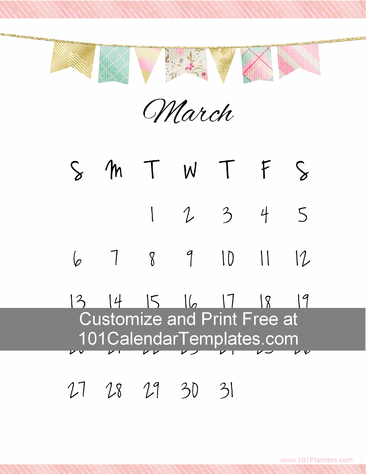 Free Printable Calendar Templates With A Pretty Banner. The Calendar  Template Can Be Customized Online. Instant Download. No Registration  Required.