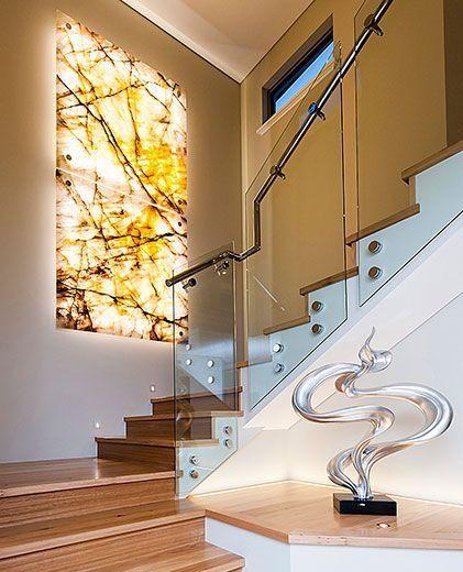 Marmol con tiras led en lugar de marcos escalera y lampara Casa - lamparas para escaleras