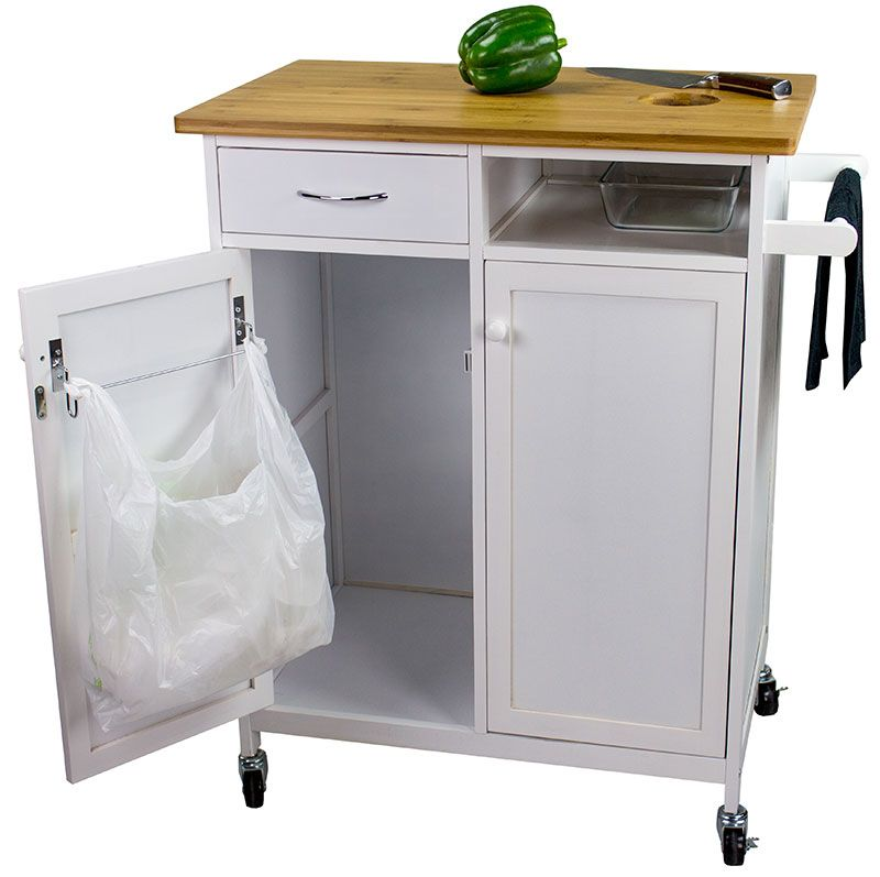 Rolling Butcher Block Top Kitchen Cart