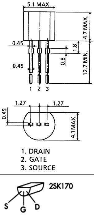 2SK170 JFET   Pinouts   Electronics, Math, Equation
