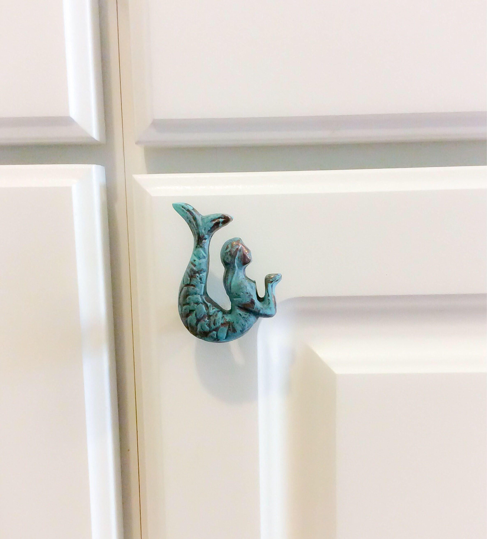 Mermaid Knob ~ Nautical Home Knob ~ Teal Knob ~ Mermaid Decor ~ Beach Home Knob ~ Mermaid Nursery ~ Coastal Furniture ~ Mermaid Bathroom #mermaidbathroomdecor