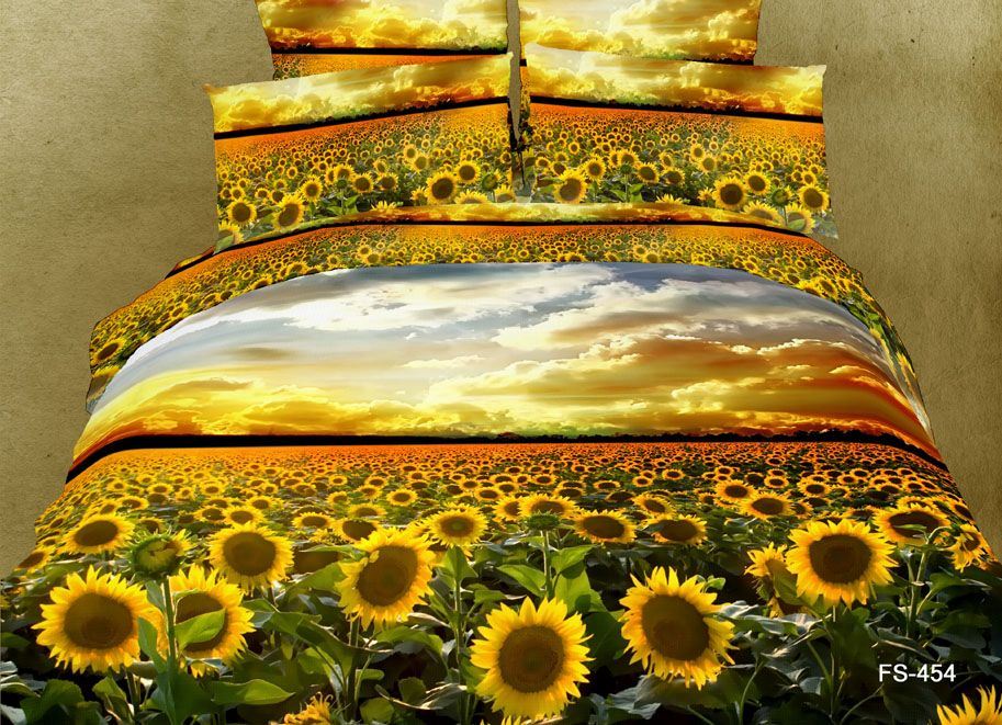 Scenery Bedding Set Sunflower Sunflowers Yellow King Queen Size
