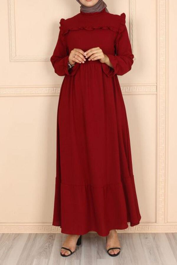 فستان خمري قطن بوليستر تسوق أون لاين حجاب مودانيسا أزياء محجبات ملابس محجبات فساتين جلباب عباية ملاب Muslim Women Clothing Abaya Dress Islamic Clothing