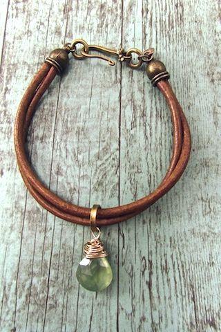 Photo of Handmade Bohemian Jewelry, Boho Chic Leather Strap Bracelet, Prehnite Bracelet, …