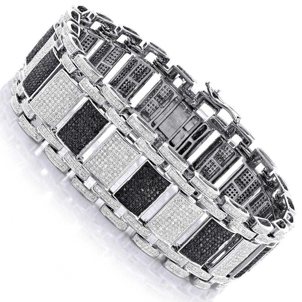 Iced out k gold custom white black diamond bracelet for men ct