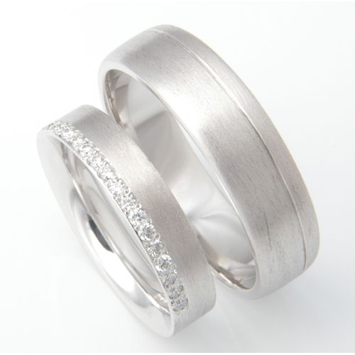 Platinum Brush Finish Matching Wedding Rings