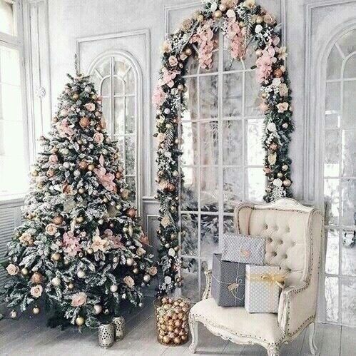 christmas tree and decorations pink rose gold with silver andor white