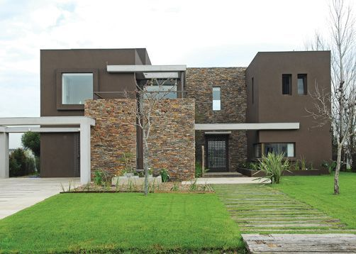 Fachada de piedras casa modernas buscar con google - Casas con chimeneas modernas ...
