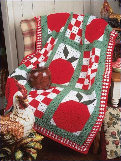 Crochet Afghans Assorted Country Apples Afghan Fc00991