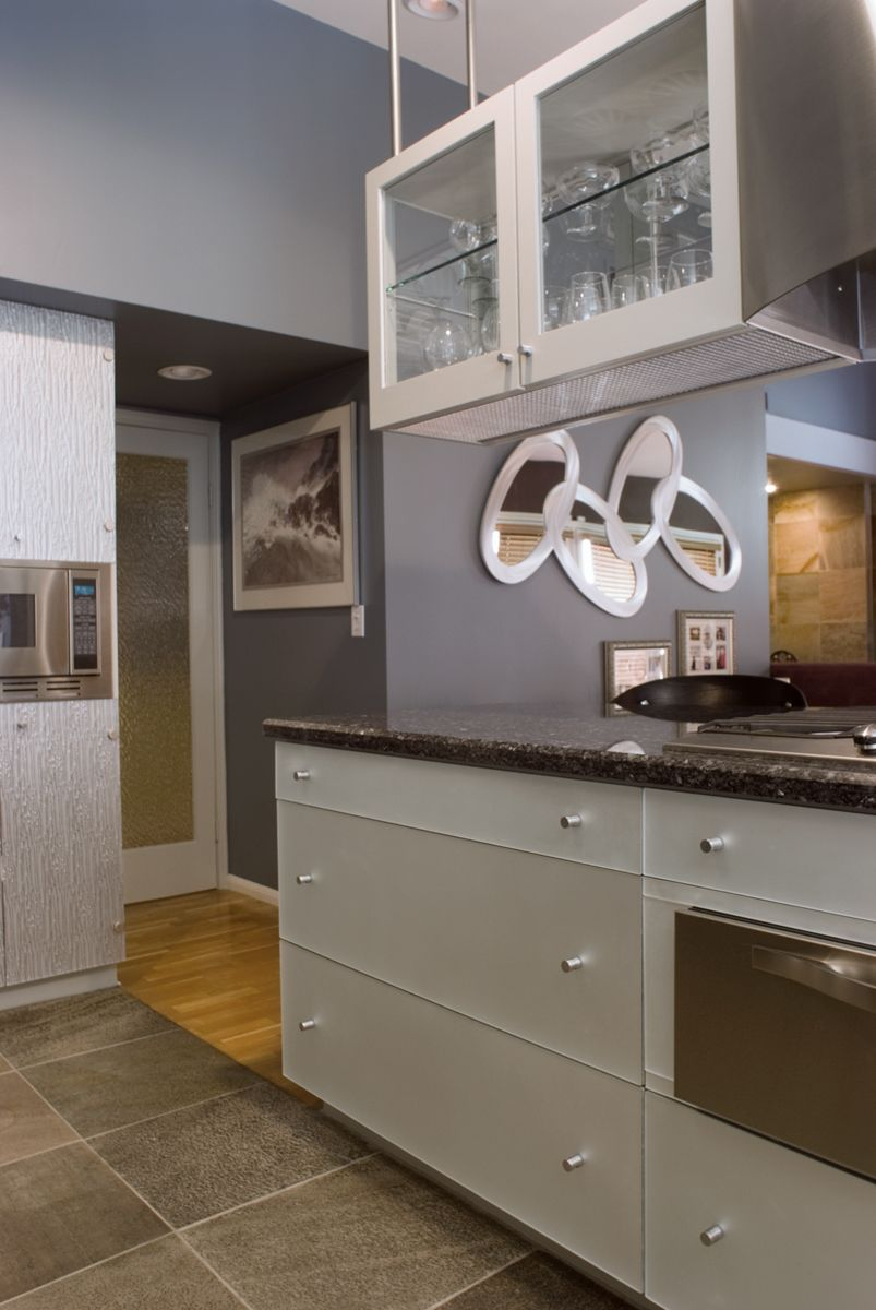 Contemporary styled kitchen. Hanging cabinet. Stainless ...