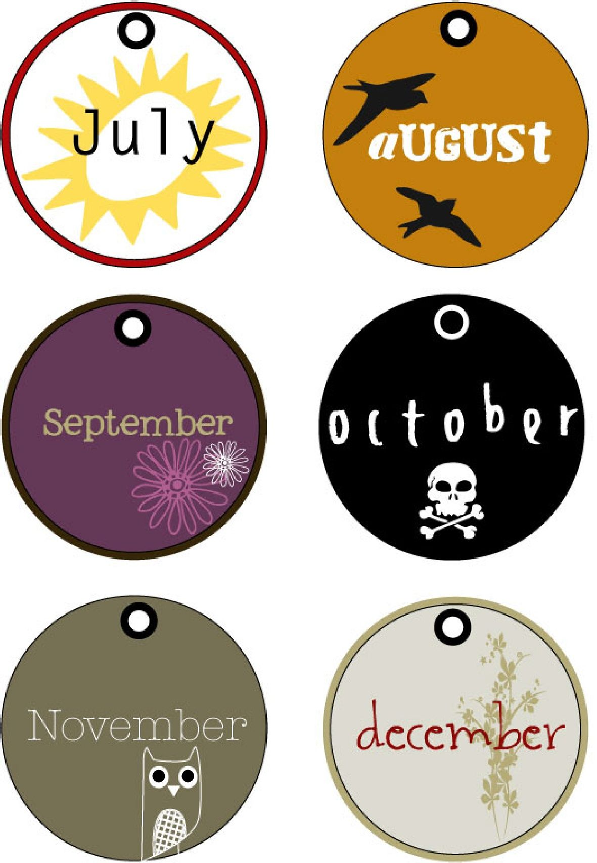 Last 6 Months Of The Year Tags Printable