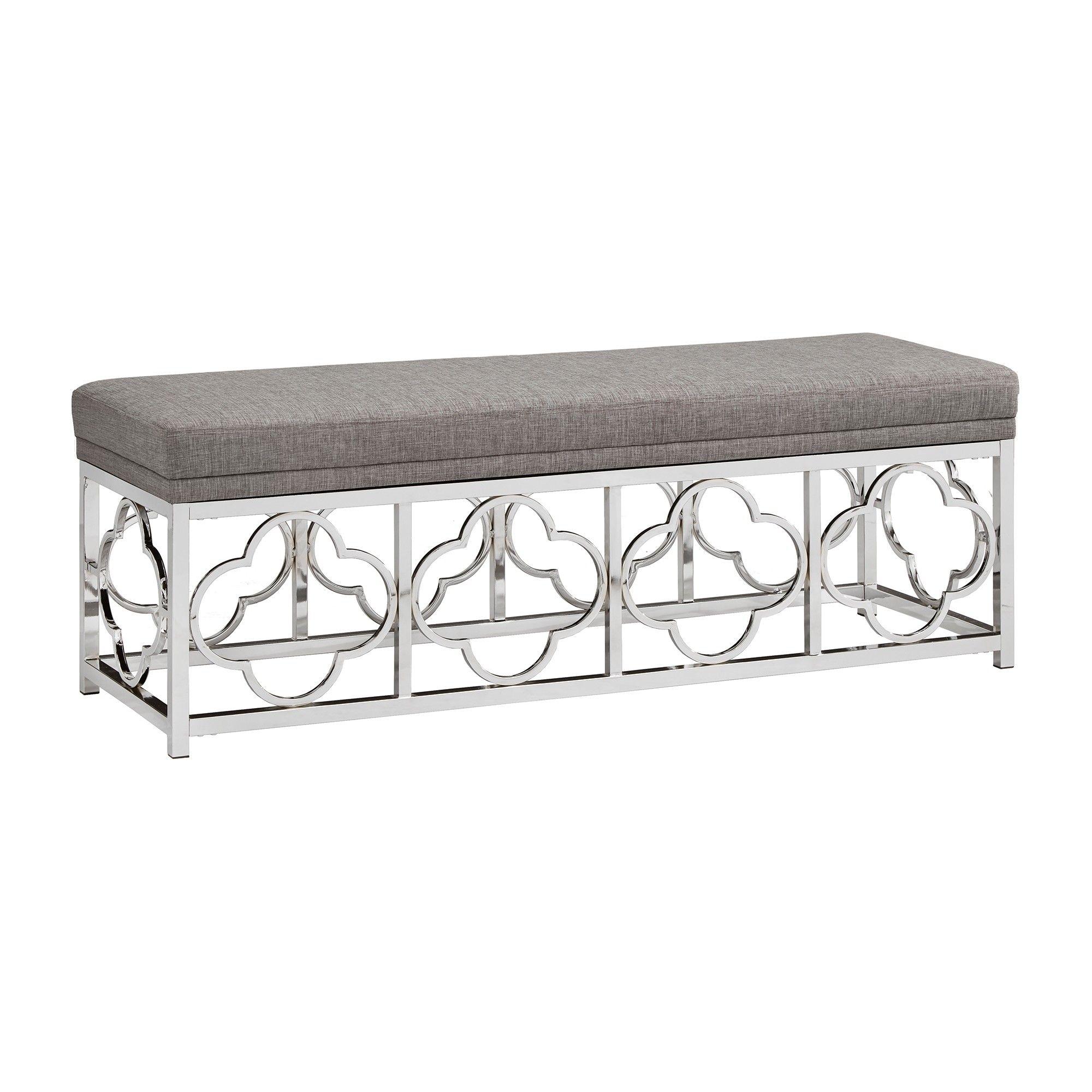 Inspire Q Vexa Chrome Quatrefoil Base Bench Linen Smoke (Grey)