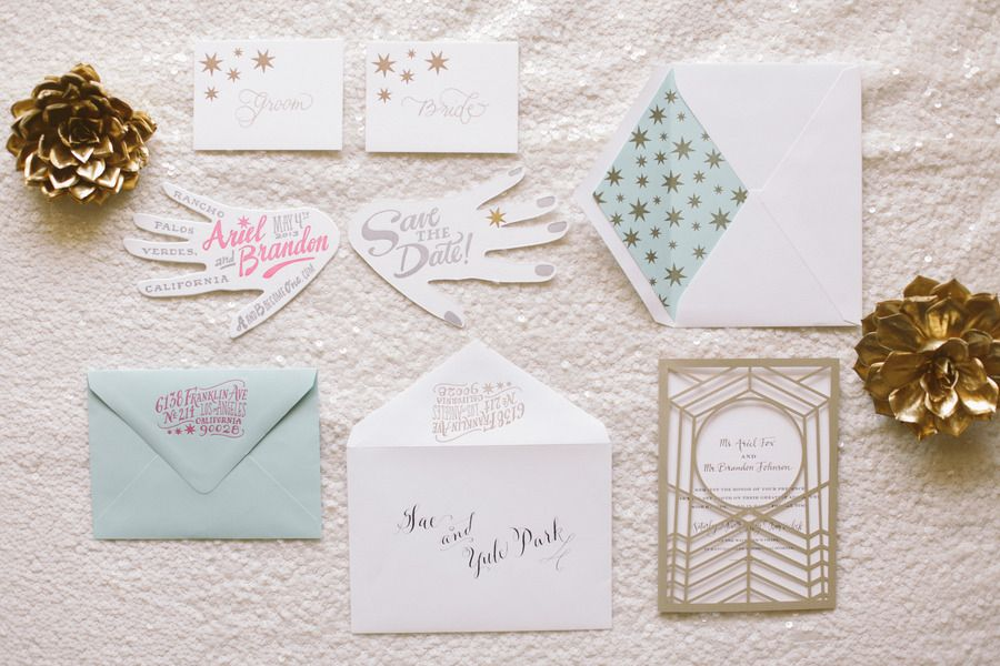 loving every second of these whimsical #invitations by http://ladyfingersletterpress.com, Photography by brandonkidd.net  Read more - http://www.stylemepretty.com/2013/08/28/rancho-palos-verdes-wedding-from-brandon-kidd/