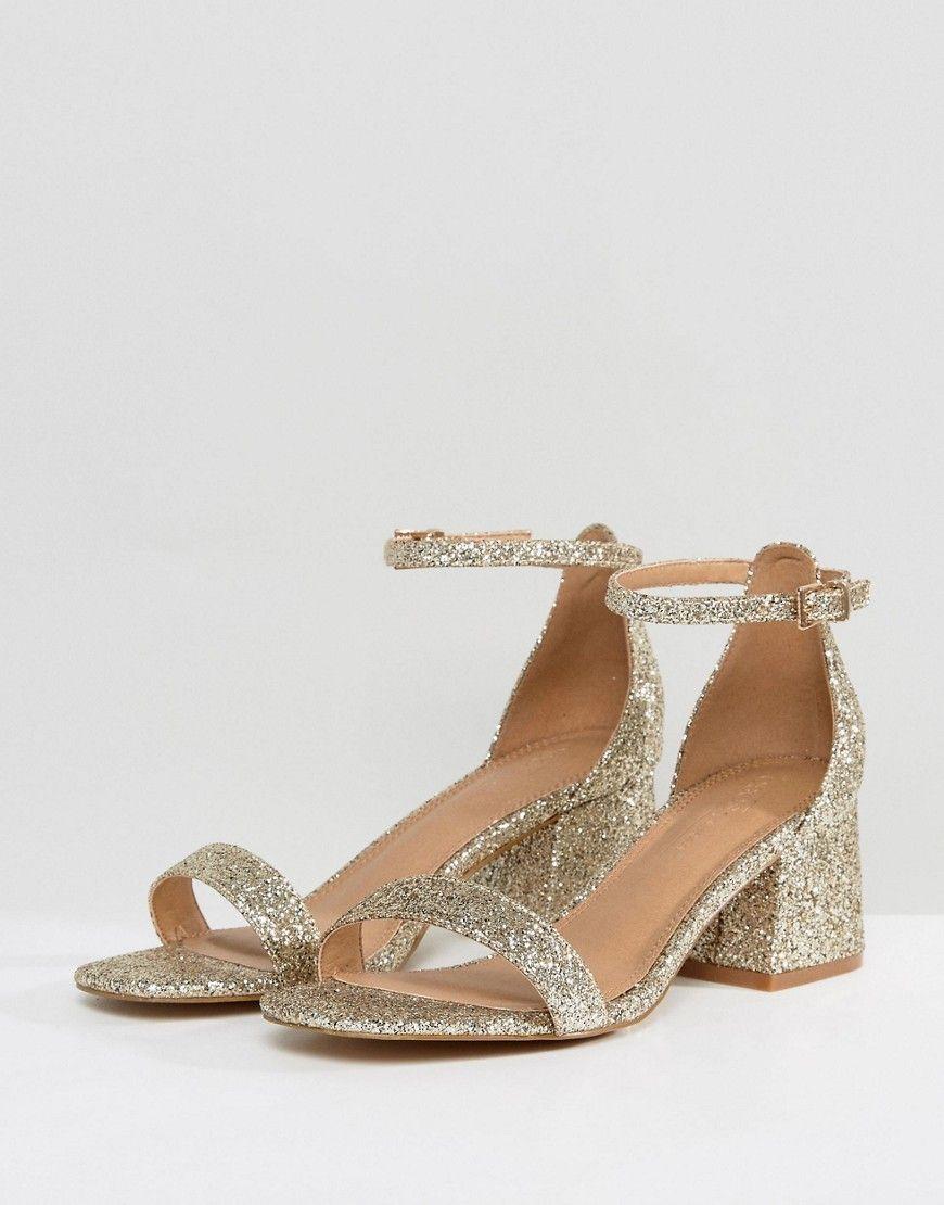 Asos Honeydew Wide Fit Heeled Sandals Gold Bridal Shoes Low Heel Womens High Heels Prom Heels