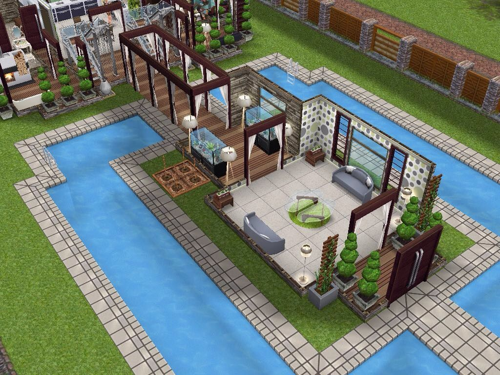 House 66 ground level sims simsfreeplay simshousedesign for Pool design sims 4