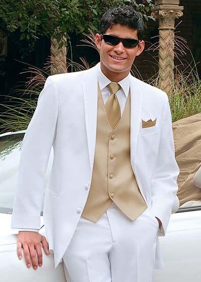 83f88ce196c8 Prom Style Tuxedos White Suit Gold vest | Prom | Pinterest | White ...