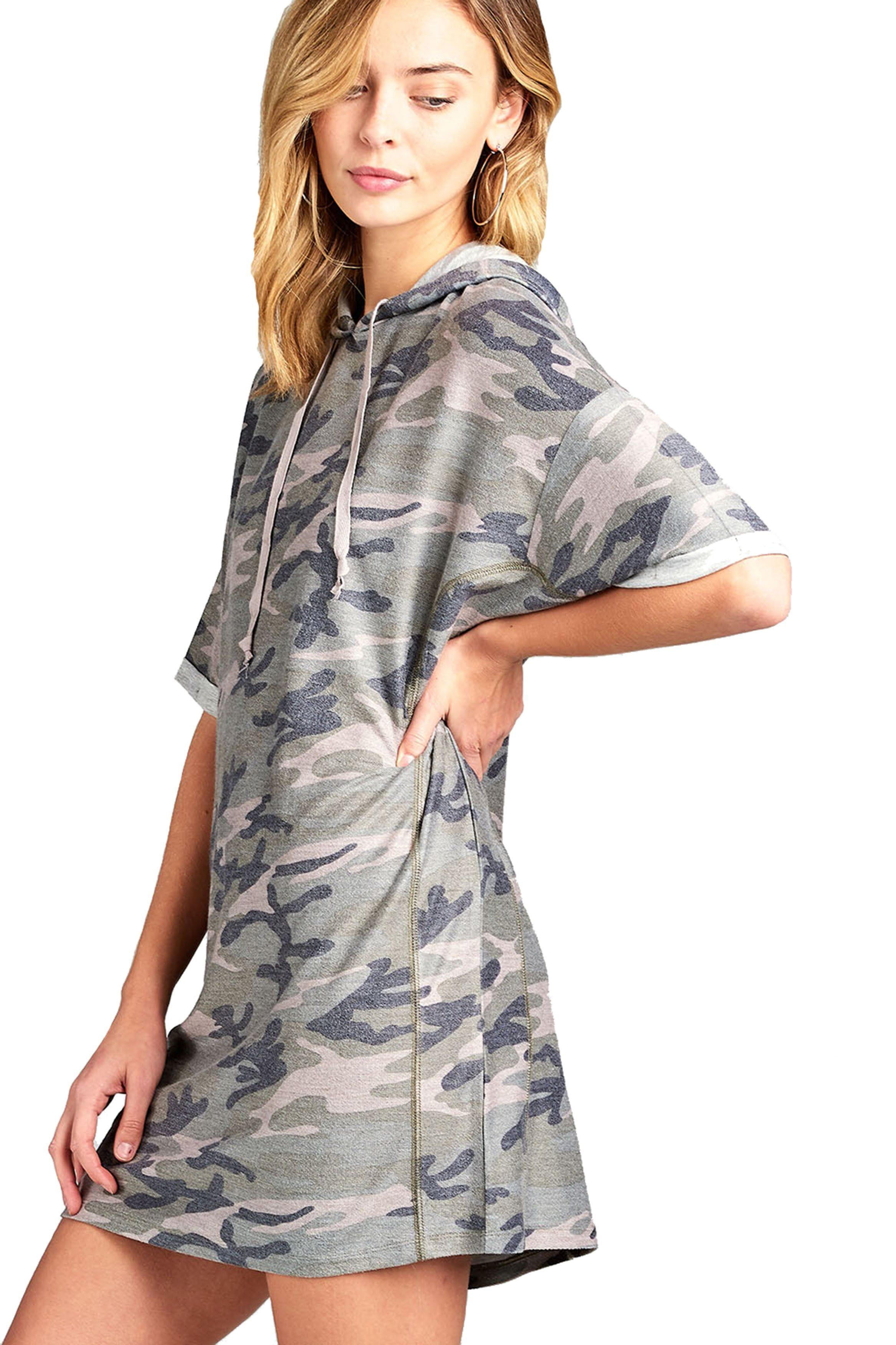 094a42eb A soft knit mini t-shirt dress featuring a faded wash, an attached hood  with drawstring ties, an allover camo print, and short raglan cuffed sleeves .