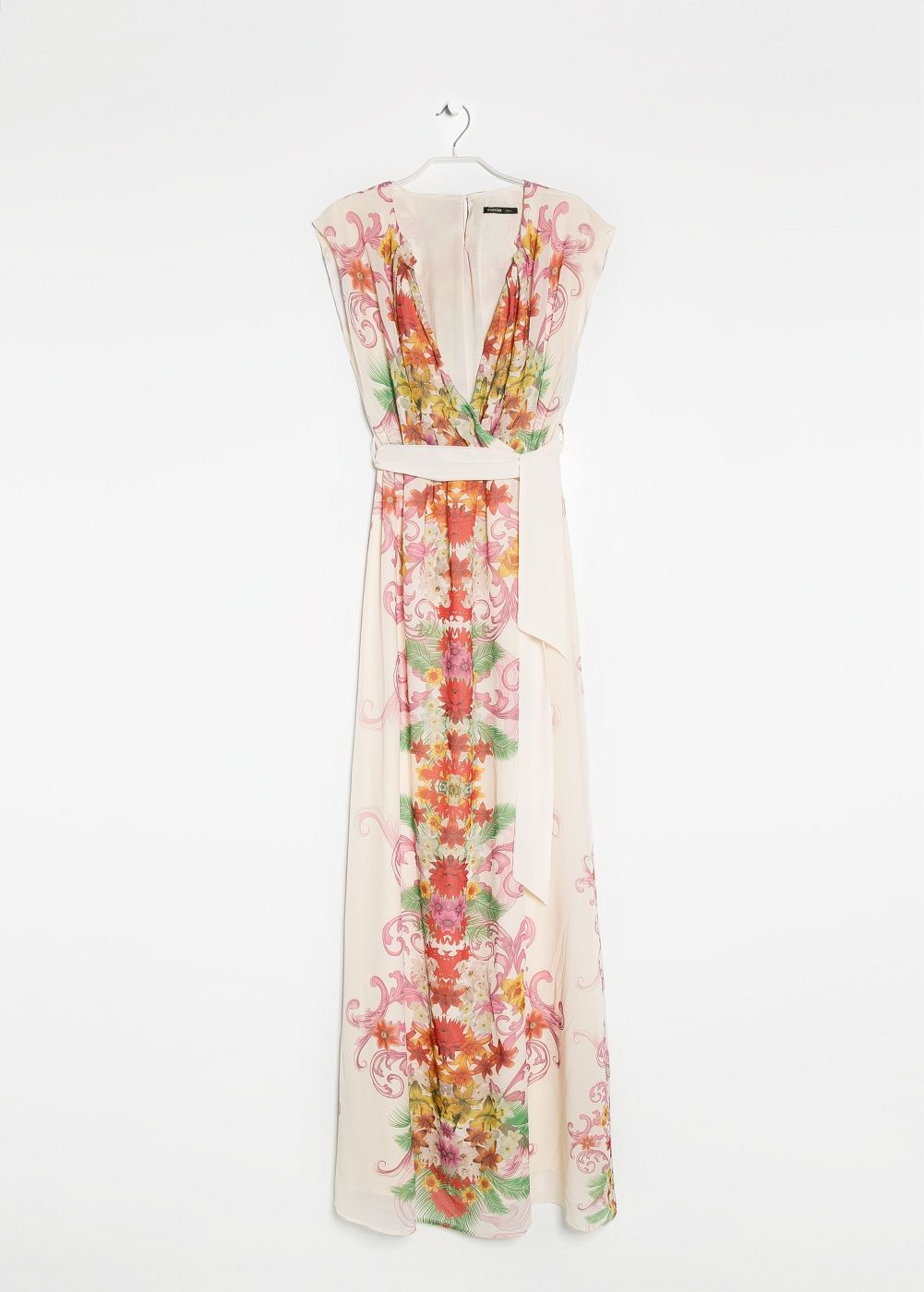 Dress femei floral print wrap and short sleeves
