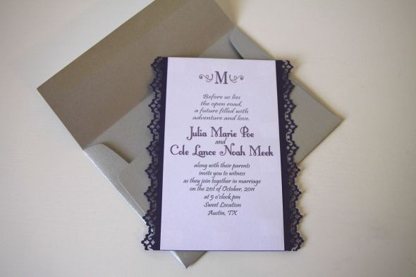 Laced Edge Invites Tutorial wedding invitations lace punch purple