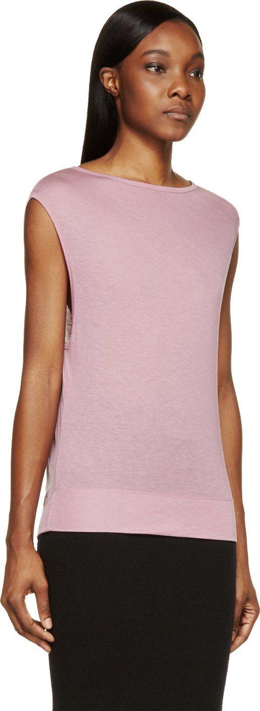 Helmut Lang: Pink Jersey Cap-Sleeve T-Shirt   SSENSE