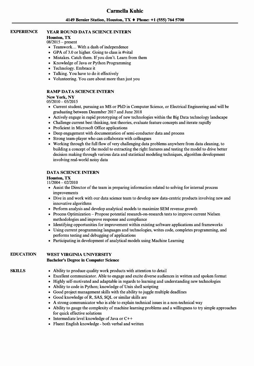 Computer Science Intern Resume Inspirational Data Science