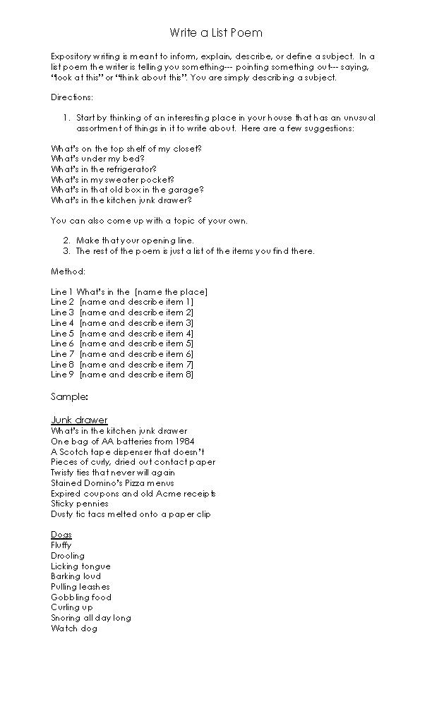 list poem template poetry worksheet