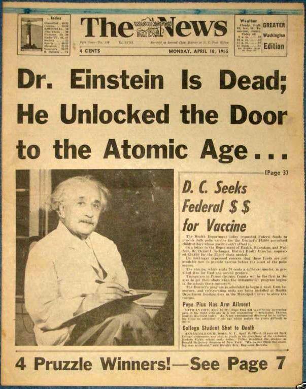 Washington Daily News April 1955 Death Of Einstein Newspaper Headlines Historical News History News