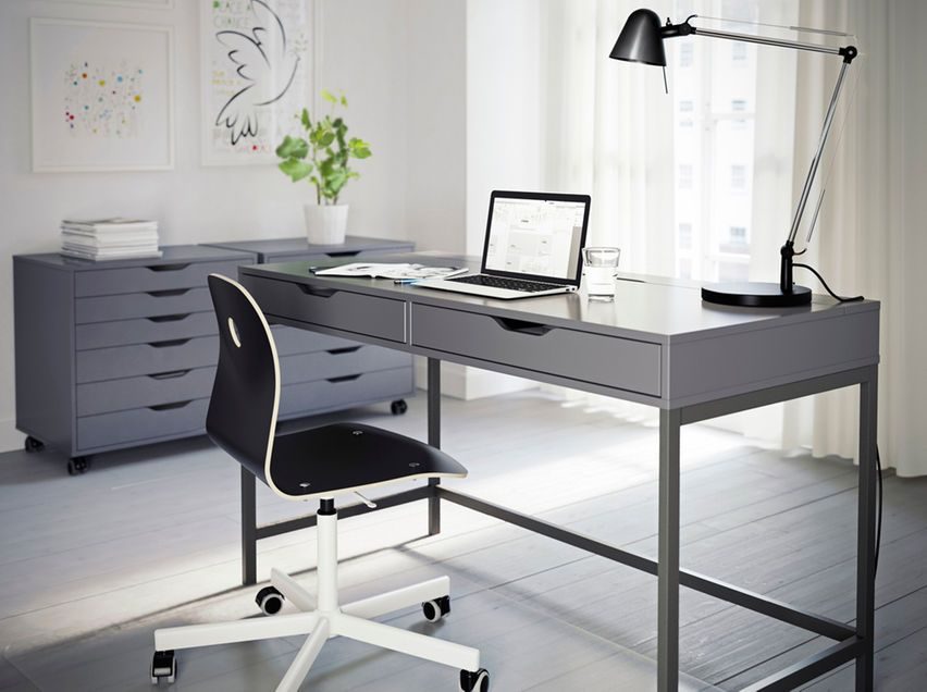 A Grey Home Office With Alex Desk And Drawer Units In Grey And Vagberg Chair In Black Ikea Home Office Home Office Desks Grey Office Furniture