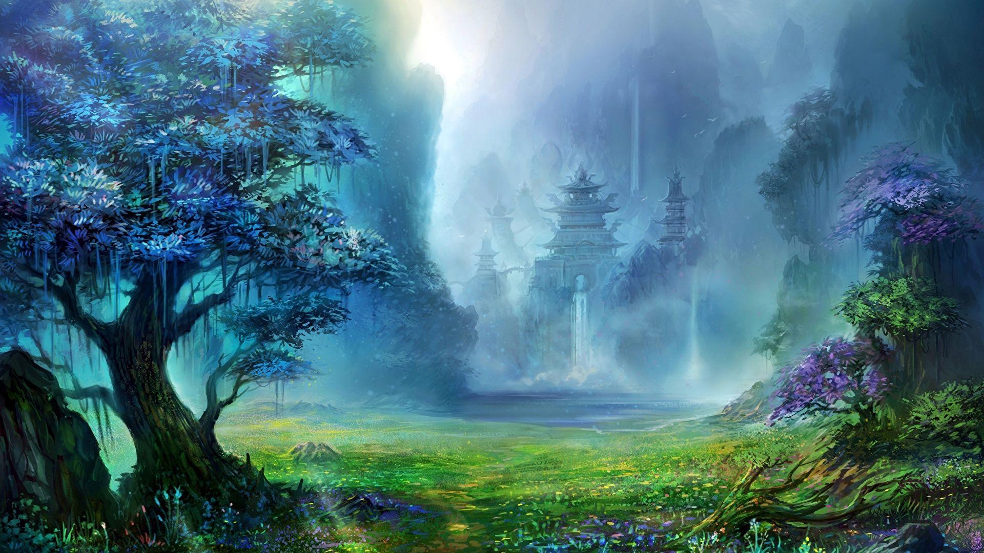 19x1080 幻想的な世界 城 木 ファンタジー ファンタジーな風景 風景の壁紙 ランドスケープアート